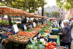 Reichliches Gemüseangebot an einem Marktstand © Kristina Schäfer