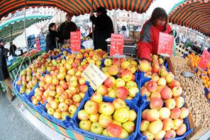 Apfelstand auf dem Mainzer Wochenmarkt © Kristian Schäfer